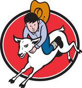 Junior rodeo cowboy ratsastaa lampaita. Piirros
