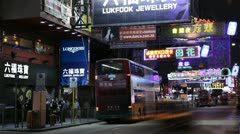 Nathan Road Night Lifestyle, Kowloon, Hong Kong, Shopping Street, time lapse Stock Footage