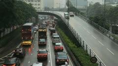 Hong Kong Island Cityscape, Rainy, Storm, Car Traffic, Mansoon Season, Commuters Stock Footage