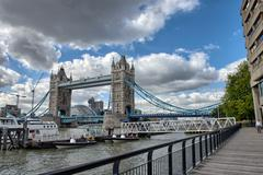 St katharine docks area with tower bridge - london Stock Photos