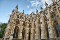 the westminster abbey church in london, uk - side view - stock photo
