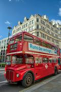 London, sep 28: red double decker bus speeds up on the streets of london, sep Stock Photos