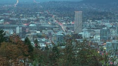 Portland Oregon Downtown Cityscape in Colorful Autumn Timelapse 1080p Stock Footage
