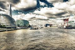 london architecture detail over river thames - stock photo