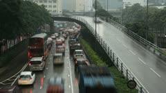 Mansoon Season, Hong Kong Island Cityscape, Rainy, Storm, Car Traffic time lapse Stock Footage