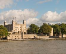 city of london with thames river in autumn - stock photo
