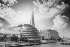 new london city hall with thames river and cloudy sky, panoramic view from to - stock photo