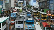 Stock Video Footage of Causeway Bay, Hong Kong Crowds Shopping Crowded Street, Car, Bus Traffic