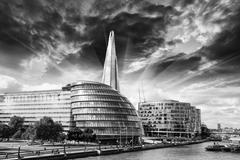 new london city hall with thames river, panoramic view from tower bridge - stock photo
