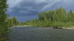 Stormy Thunderclouds over Montana Creek in Alaska 30p - stock footage