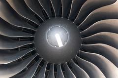 Modern plane engine turbine blades. Stock Photos