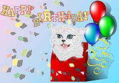 Congratulation with kitten Stock Illustration
