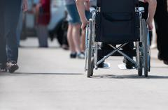 disabled man on wheelchair. - stock photo