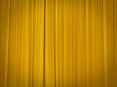 theatre stage with closed curtains - stock photo