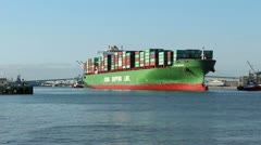 Chinese Container Ship Leaves Port Stock Footage