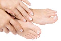 woman pedicure isolated on white - stock photo