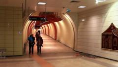 Corridor in metro subway. - stock footage