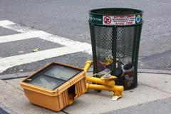 Hurricane Sandy in NYC: Fallen Traffic Light - stock photo