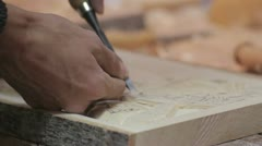 Xylography (woodcutting) _ hammer and chisel  _7 Stock Footage