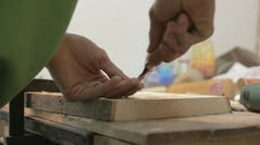 Xylography (woodcutting) _ hammer and chisel  _6 Stock Footage