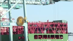 Gantry Crane Lifts Container Stock Footage