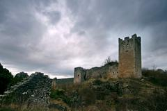 View on the castle and abandonded medival town Dvigrad Stock Photos