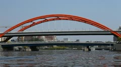 Tianjin Skyline, China, Jingang Bridge, Hai River, Tour Boat Tourist Attractions Stock Footage