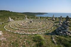 New age meditational labyrinth on the Kamenjak coast Stock Photos