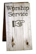 worship service sign, includes clipping path - stock photo