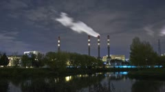 Pover plant at night, full HD, timelapse Stock Footage
