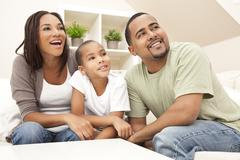 happy smiling african american family at home - stock photo