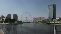 Tianjin Skyline in China, Tianjin Eye and Monument of Diversion Project Stock Footage