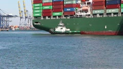 Container Ship Maneuvers For Mooring Stock Footage