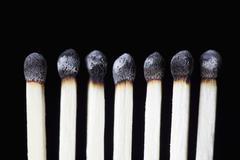 Burnt matches, concept photography Stock Photos