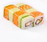 sushi roll with salmon and cucumber - stock photo