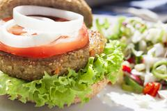 tempting veggie burger - stock photo