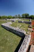 Remains of the buildings in prehistoric Nezactium - stock photo