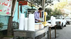 Outdoor food stall. Tehran, Iran - stock footage