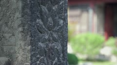 Chinese bas-relief on wall of temple Stock Footage