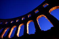 Roman amphitheatre in Pula Stock Photos