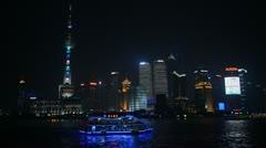 Shanghai Skyline, China, Huangpu River, Skyscrapers, Cityscape, Ship Boats Night Stock Footage