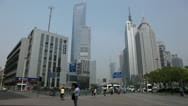 Chinese People Pudong Shanghai Skyline, China, Oriental Pearl Tower, Skyscrapers Stock Footage