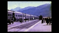 Alberta train pulls into Jasper 1938 Stock Footage