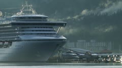 Cruise Ship in Whittier, AK, Misty with Birds Stock Footage