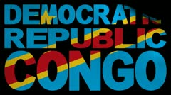 Democratic Republic of Congo text with fluttering flag animation Stock Footage