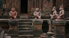Tilt up inside Banteay Srei Temple Stock Footage