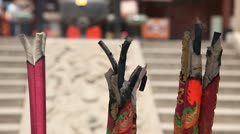 Stock Video Footage of Incense Burning Sticks Chinese Temple Closeup Praying Ceremony Offering Faith
