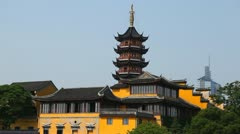 Jiming Temple Nanjing Architecture Chinese Pagoda Buddhist Religious House Day Stock Footage