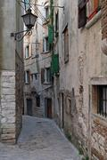 Narrow Rovinj street Stock Photos