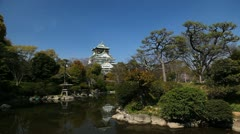 Beautiful Osaka Castle Japanese Architecture Asian Establishing Shot Old Palace Stock Footage